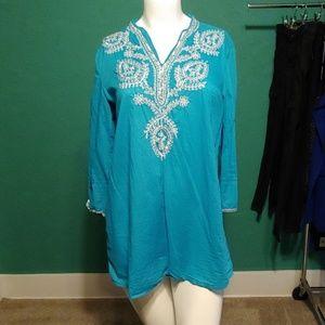 Blue boho tunic